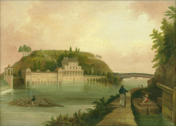 Painting - Fairmount Waterworks About 1838 by Unknown