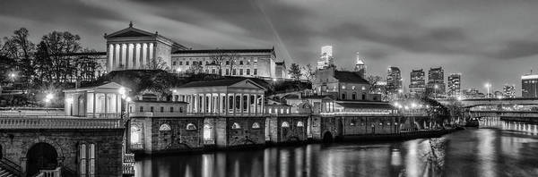 Photograph - Fairmount Waterworks And Art Museum At Night In Black And White by Bill Cannon