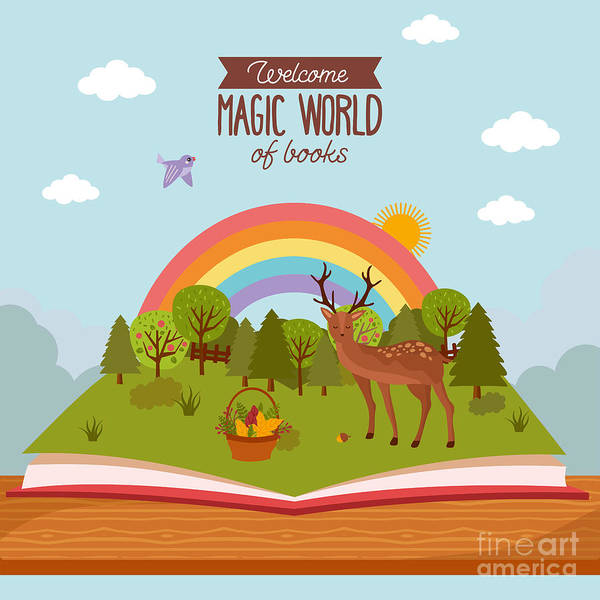 Magic Wall Art - Digital Art - Fairy Tale Concept. Kids Illustration by Twobears art