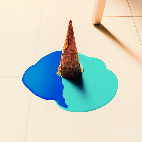 Shabby Wall Art - Photograph - Fake Ice Cream Flows Down On The Floor by Evgeniya Porechenskaya