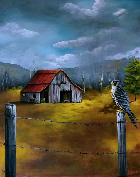 Fencepost Painting - Falcon And Barn by Danett's Paintings