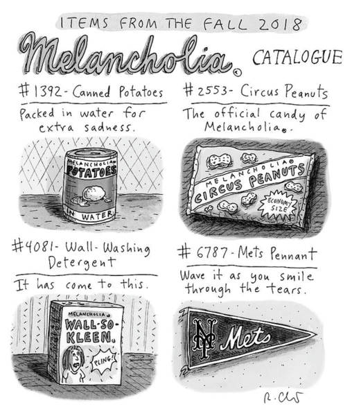 Drawing - Fall 2018 Melancholia Catalog by Roz Chast
