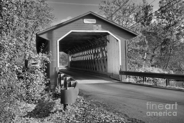 Photograph - Fall Afternoon At The Silk Covered Bridge Black And White by Adam Jewell
