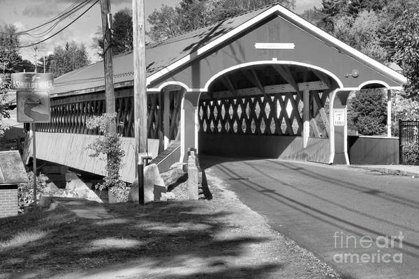 Photograph - Fall Afternoon At The Thompson Covered Bridge Black And White by Adam Jewell