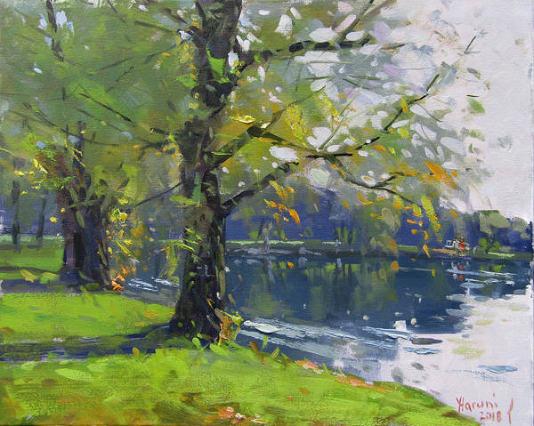 Wall Art - Painting - Fall At Bond Lake Park by Ylli Haruni