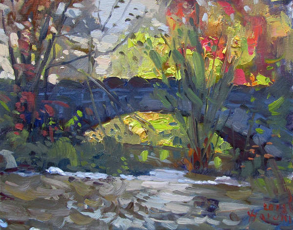 Wall Art - Painting - Fall At Stone Bridge In Goat Island by Ylli Haruni