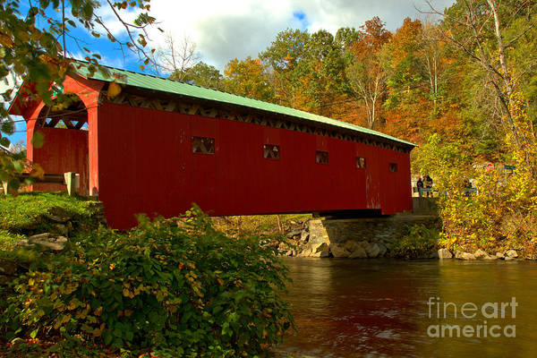 Photograph - Fall At The Arlington Green Covered Bridge by Adam Jewell