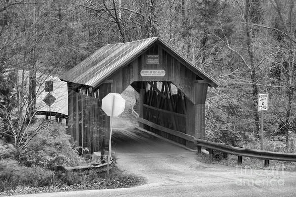 Photograph - Fall At The Gold Brook Covered Bridge Black And White by Adam Jewell