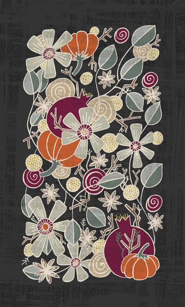 Painting - Fall Botanical Art Black Background by Jen Montgomery