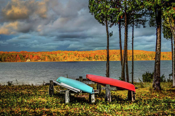 Digital Art - Fall Color And Kayaks Dsc_0626 by Michael Thomas