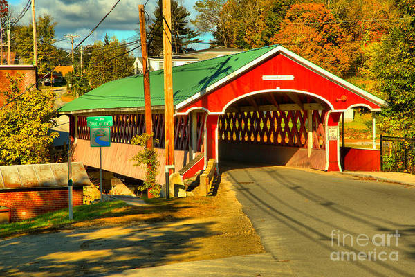 Photograph - Fall Colors At The West Swanzey Covered Bridge by Adam Jewell