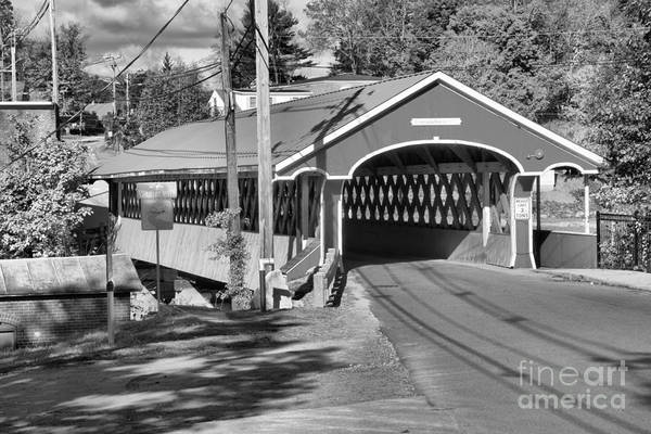 Photograph - Fall Colors At The West Swanzey Covered Bridge Black And White by Adam Jewell