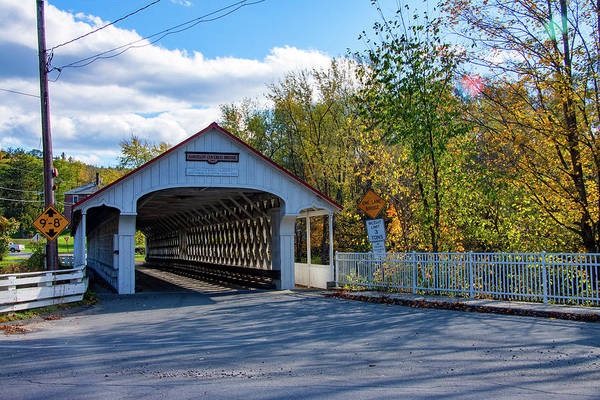 Photograph - Fall Colors Over Ashuelot Covered Bridge by Jeff Folger