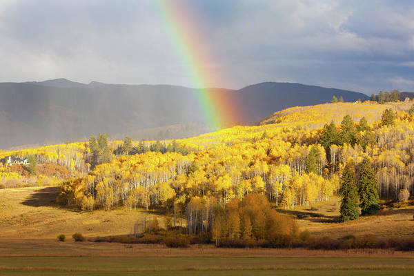 Aspen Photograph - Fall Colors With Rainbow by Victoria Chen