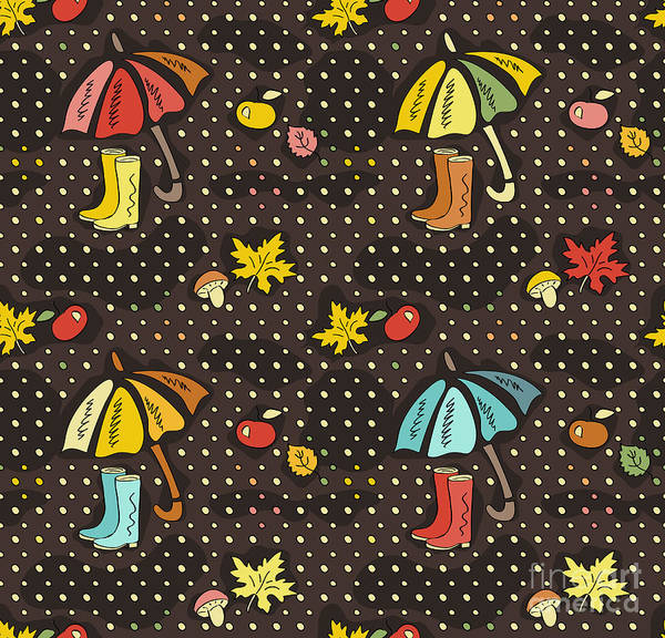 Wall Art - Digital Art - Fall Doodle Wallpaper. Autumn Seamless by Anton Malina