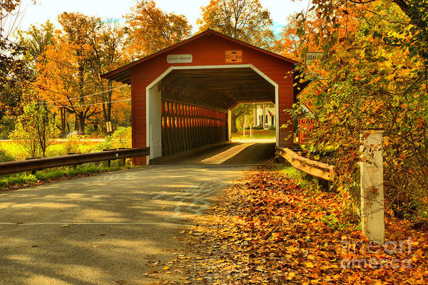 Photograph - Fall Foliage At The Henry Covered Bridge by Adam Jewell