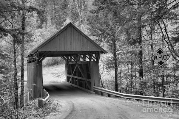Photograph - Fall Foliage As The Red Covered Bridge Black And White by Adam Jewell