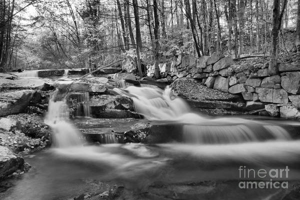 Photograph - Fall Foliage At Stickney Brook Falls Black And White by Adam Jewell