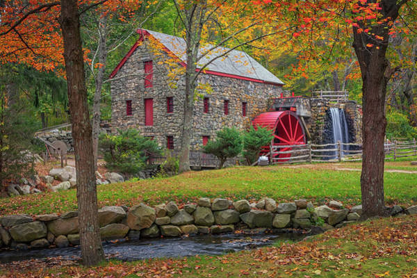 Wayside Inn Photograph - Fall Foliage At The Grist Mill by Kristen Wilkinson