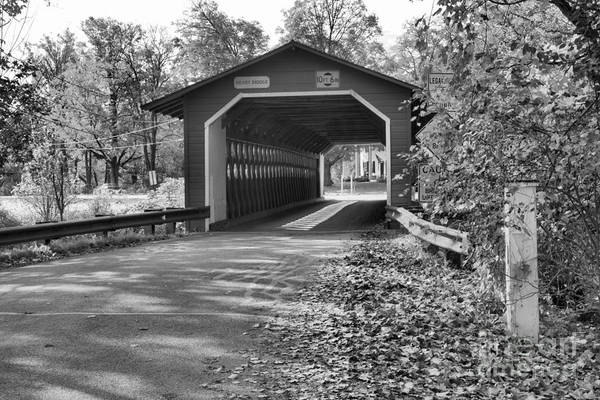 Photograph - Fall Foliage At The Henry Covered Bridge Black And White by Adam Jewell