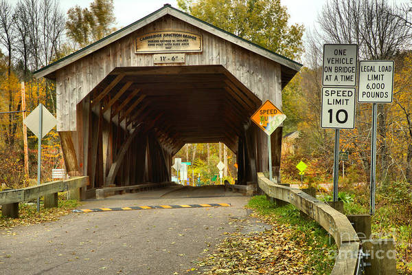Photograph - Fall Foliage At The Junction Covered Bridge by Adam Jewell