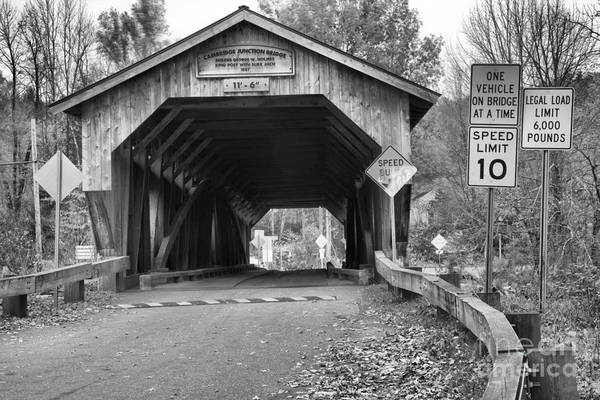 Photograph - Fall Foliage At The Junction Covered Bridge Black And White by Adam Jewell