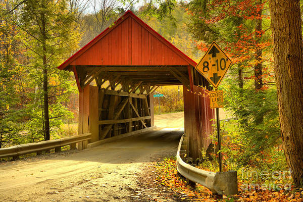 Photograph - Fall Foliage Over The Red Covered Bridge by Adam Jewell