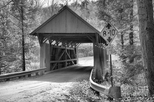 Photograph - Fall Foliage Over The Red Covered Bridge Black And White by Adam Jewell
