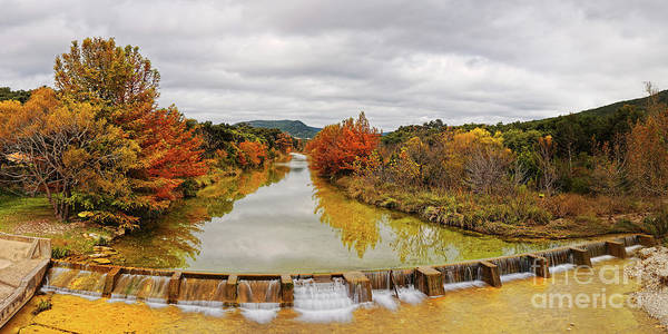 Wall Art - Photograph - Fall Foliage Panorama Of Sabinal River Dam At Vanderpool - Utopia County Texas Hill Country by Silvio Ligutti