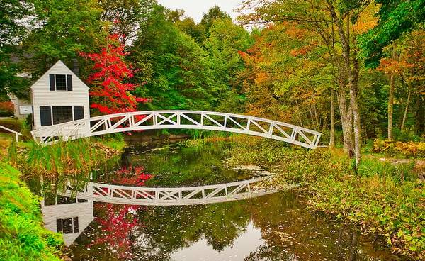Fall Footbridge Reflection Art Print