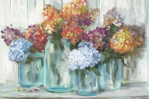 Wall Art - Painting - Fall Hydrangeas In Glass Jar Crop by Carol Rowan