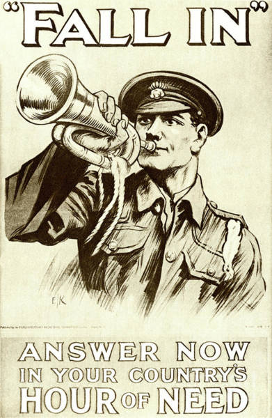 Wall Art - Drawing - Fall In  Recruitment Poster For The British Army In The First World War, 1915 by English School