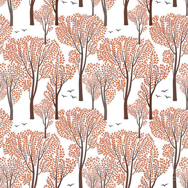 Set Design Digital Art - Fall Nature Wildlife Seamless Pattern by Yoko Design