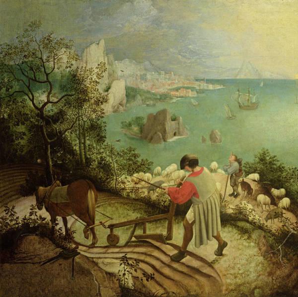 Wall Art - Painting - Fall Of Icarus by Pieter Bruegel the Elder