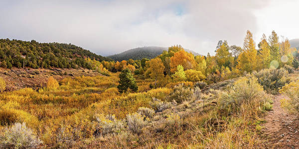 Photograph - Fall Panorama Of Aspens And Cottonwoods At Twomile Reservoir Dale Ball Trails - Santa Fe New Mexico by Silvio Ligutti