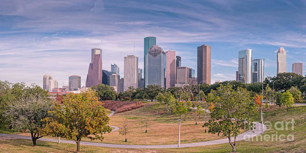 Bald Cypress Photograph - Fall Panorama Of Downtown Houston Skyline From Eleanor Tinsley Park - Allen Parkway Houston Texas by Silvio Ligutti