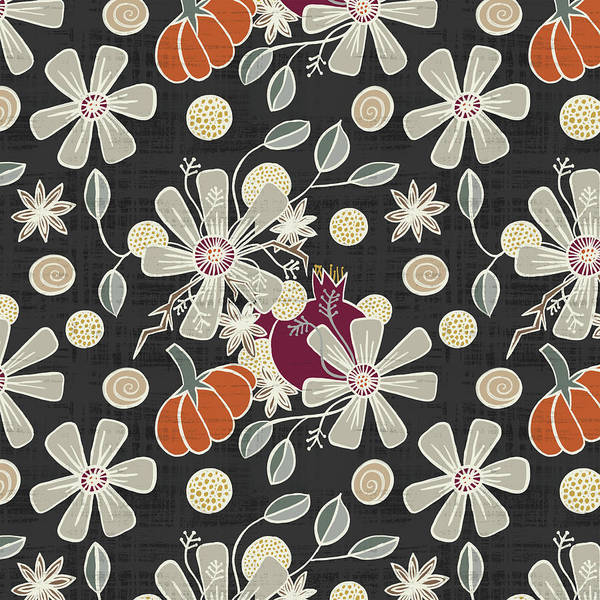 Painting - Fall Pumpkin Botanical Pattern Black Background by Jen Montgomery