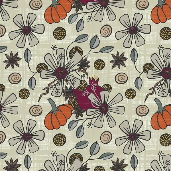 Painting - Fall Pumpkin Botanical Pattern Cream Background by Jen Montgomery