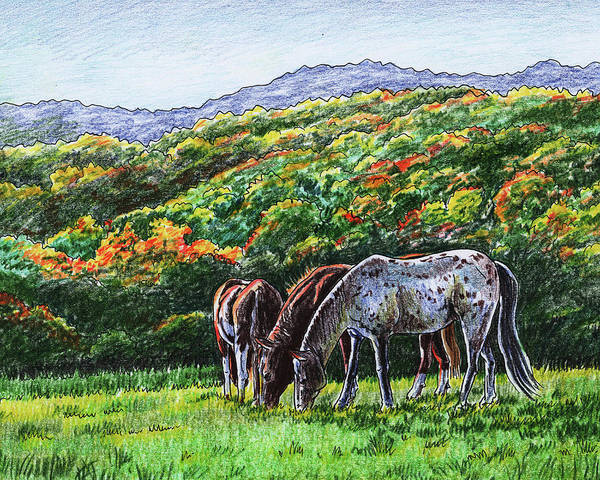 Painting - Fall Ranch Grazing Horses  by Irina Sztukowski