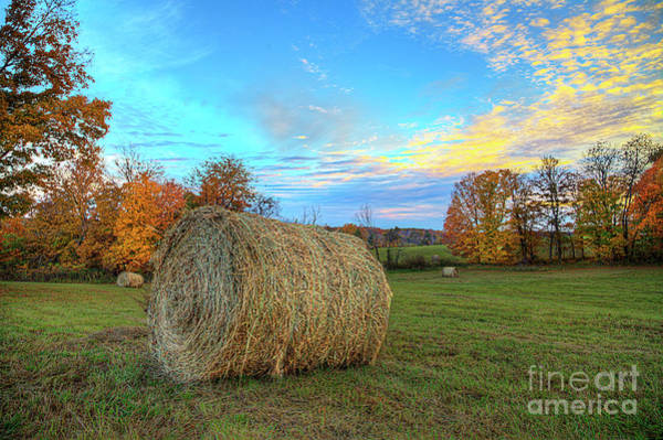Wall Art - Photograph - Fall Scene With Hay Bale  by Larry Braun