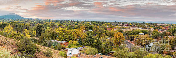 Wall Art - Photograph - Fall Sunrise Panorama Of Santa Fe The City Different - New Mexico Land Of Enchantment  by Silvio Ligutti