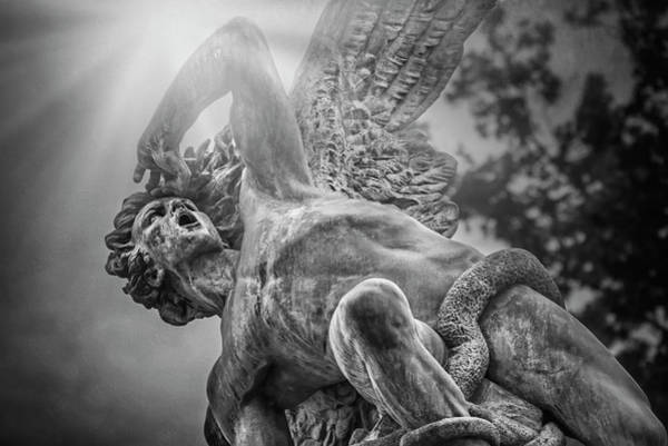 Wall Art - Photograph - Fallen Angel Retiro Park Madrid Black And White  by Carol Japp