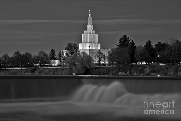 Photograph - Falls Below The Idaho Falls Temple Black And White by Adam Jewell