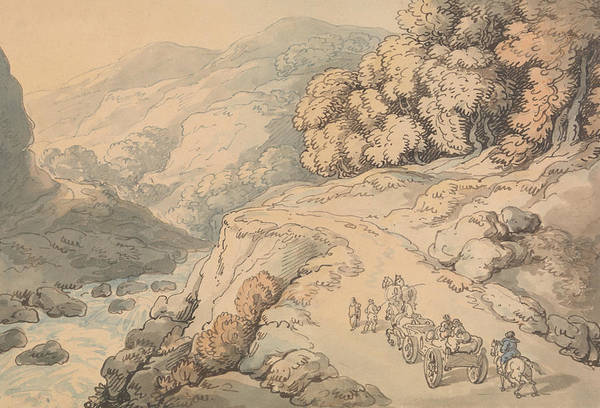 Wales Drawing - Falls On The River Conwy, North Wales by Thomas Rowlandson