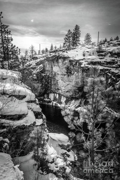 Photograph - Falls Park Winter - Black And White by Matthew Nelson