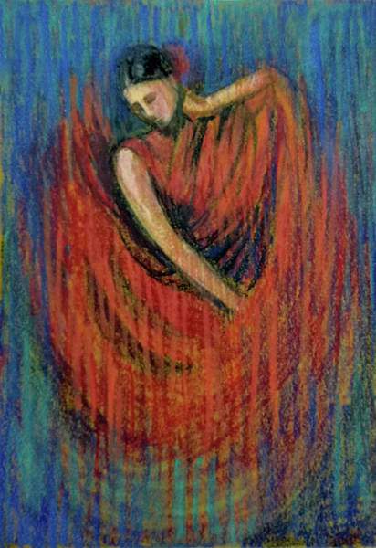 Wall Art - Pastel - Falmenco Dancer by Asha Sudhaker Shenoy