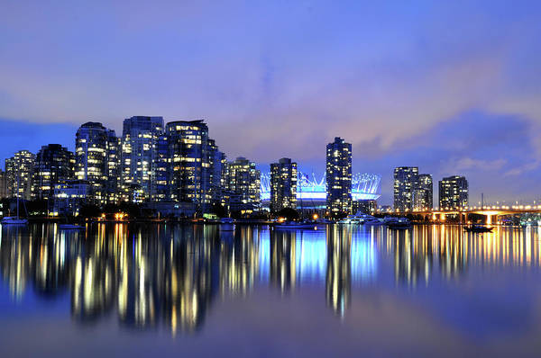 False Creek Wall Art - Photograph - False Creek - Sunset On A Cloudy Evening by Leuntje