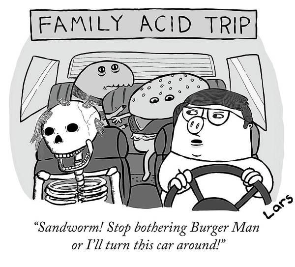 Road Trip Drawing - Family Acid Trip by Lars Kenseth