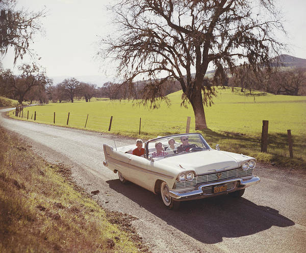 Happiness Photograph - Family Drives In Car Through Country by Tom Kelley Archive