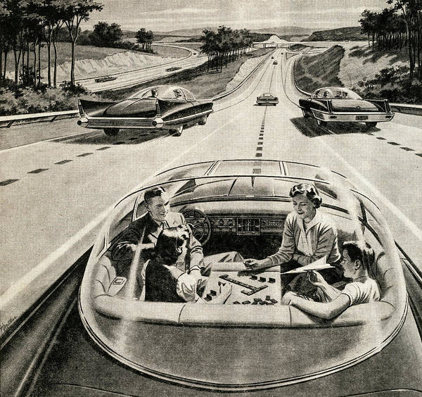 Driving Photograph - Family In Self-driving Car by Graphicaartis